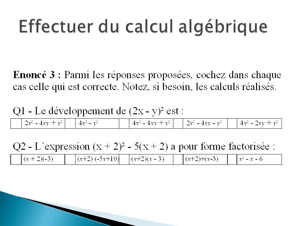 Effectuer du calcul algébrique
