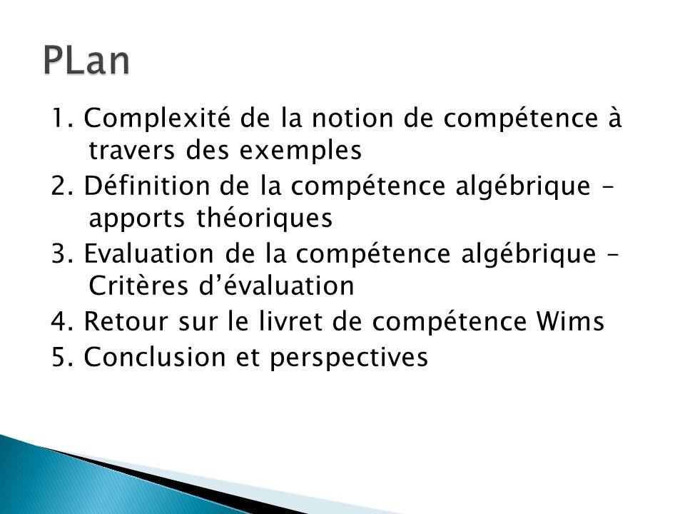 PLan 1. Complexité de la notion de compétence à travers des exemples