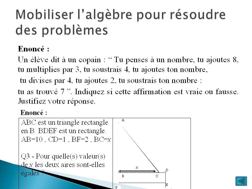 Mobiliser l'algèbre pour résoudre des problèmes