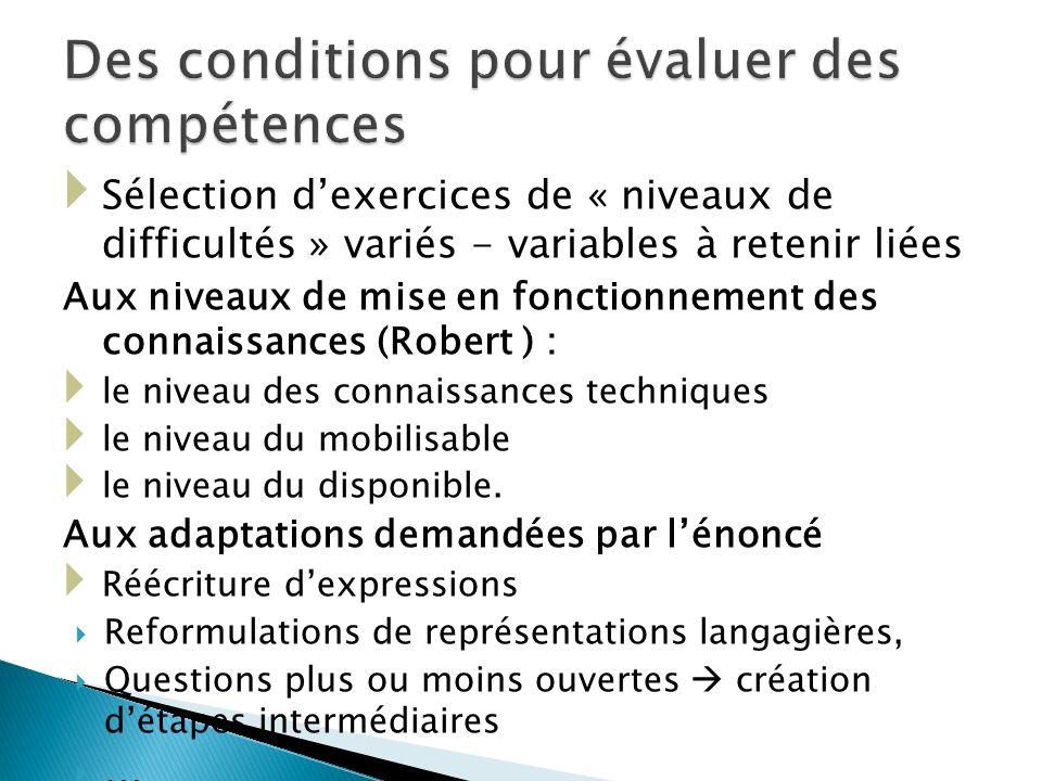 Des conditions pour évaluer des compétences