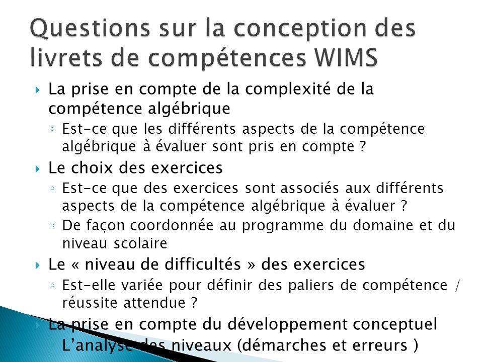 Questions sur la conception des livrets de compétences WIMS