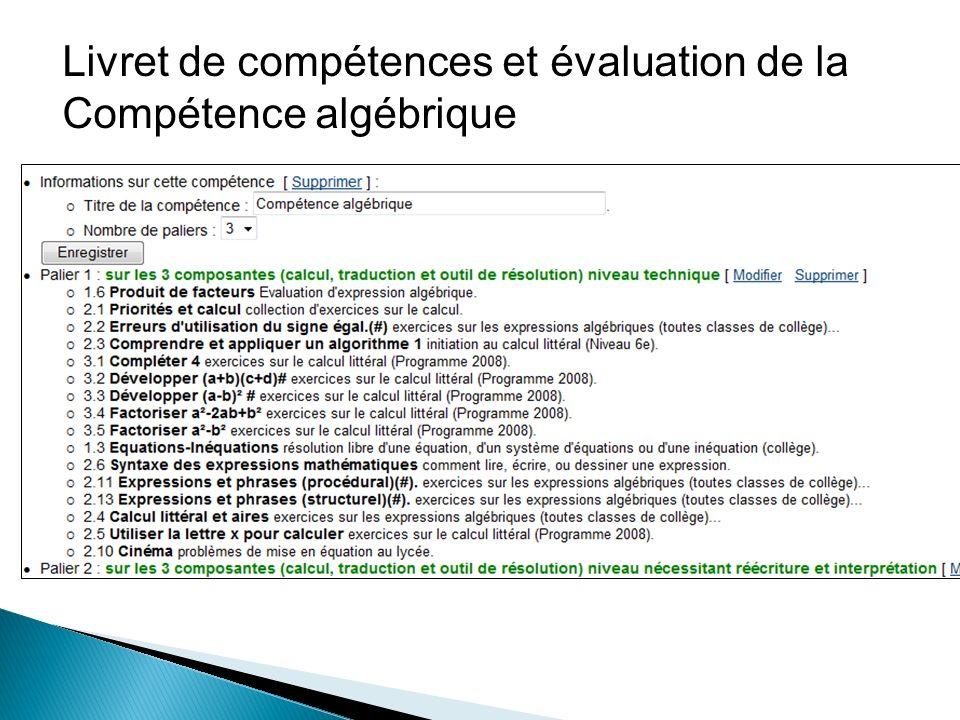 Livret de compétences et évaluation de la Compétence algébrique