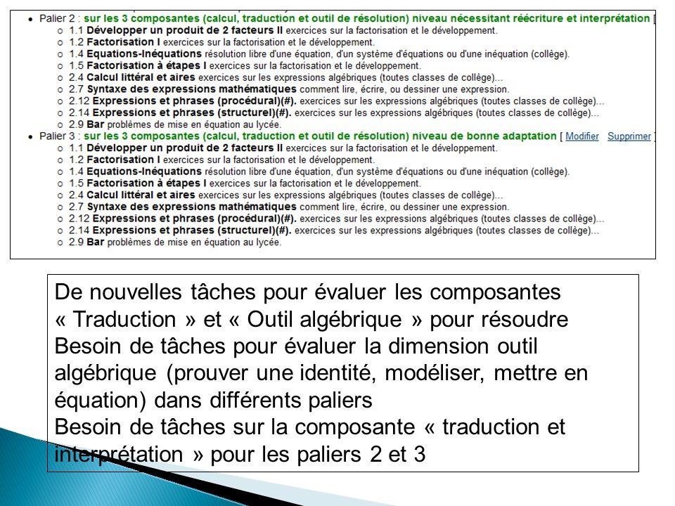 De nouvelles tâches pour évaluer les composantes « Traduction » et « Outil algébrique » pour résoudre
