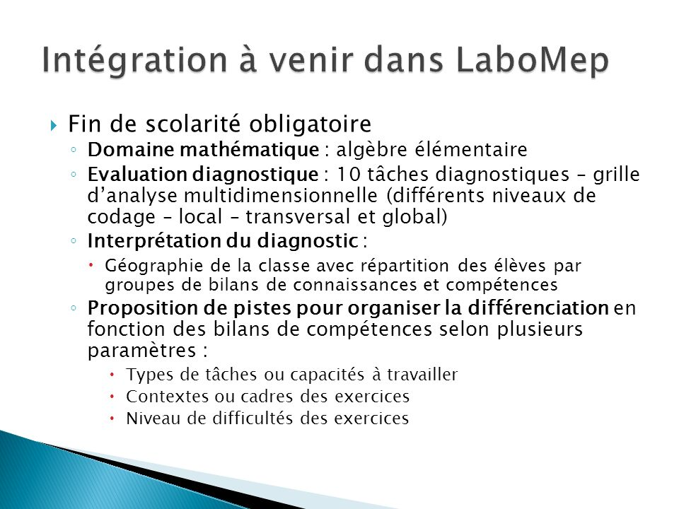 Intégration à venir dans LaboMep