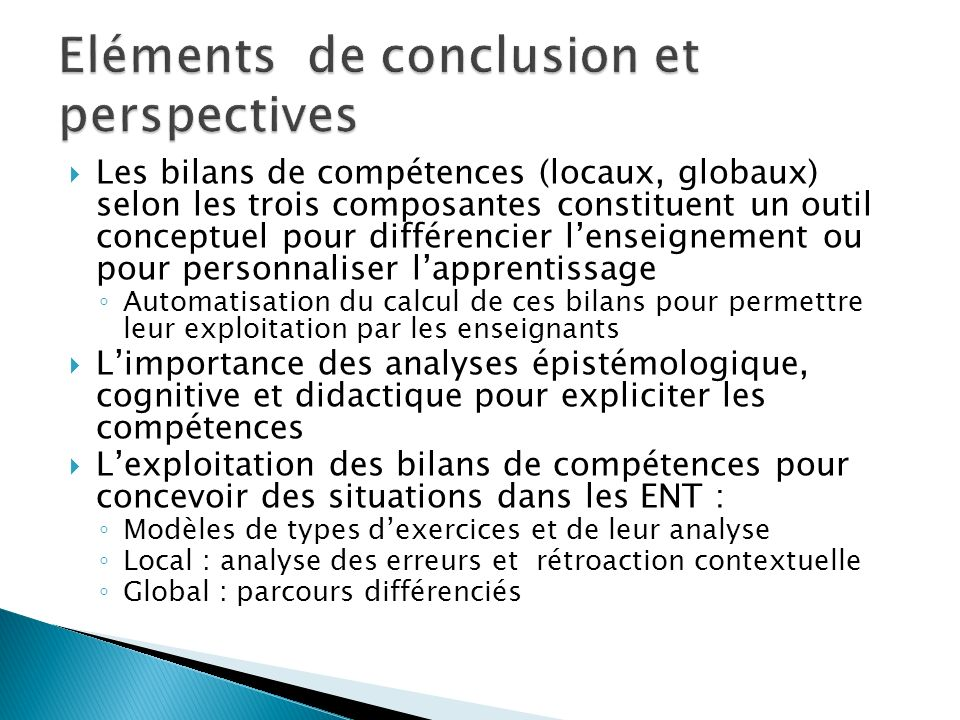 Eléments de conclusion et perspectives