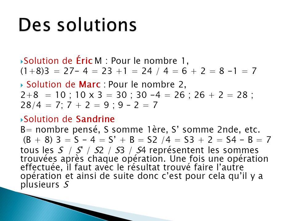 Des solutions Solution de Éric M : Pour le nombre 1,