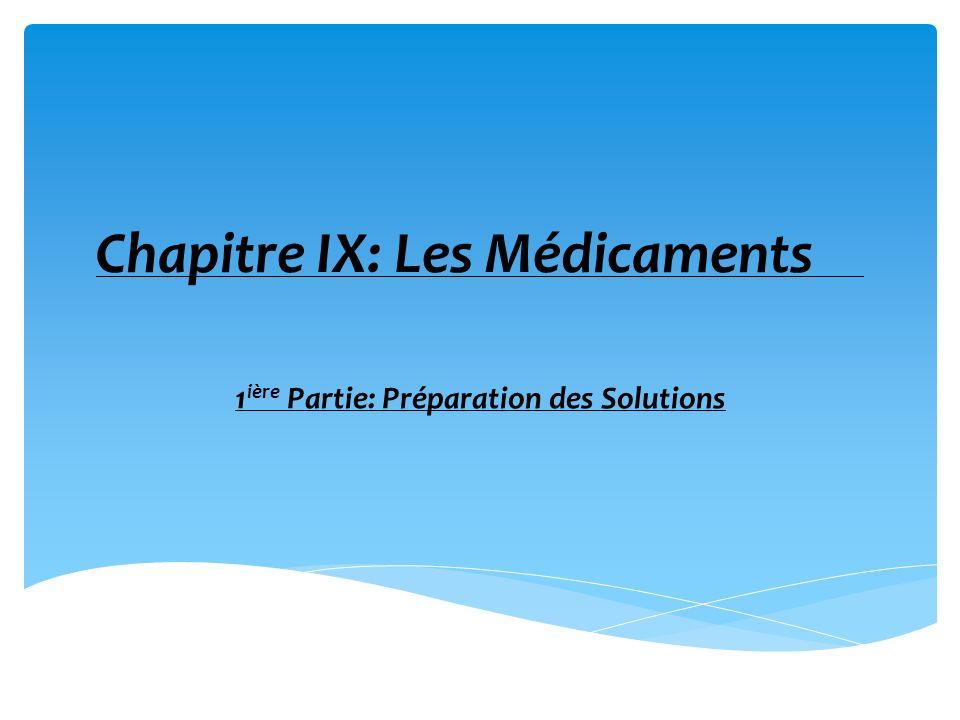 Chapitre IX: Les Médicaments