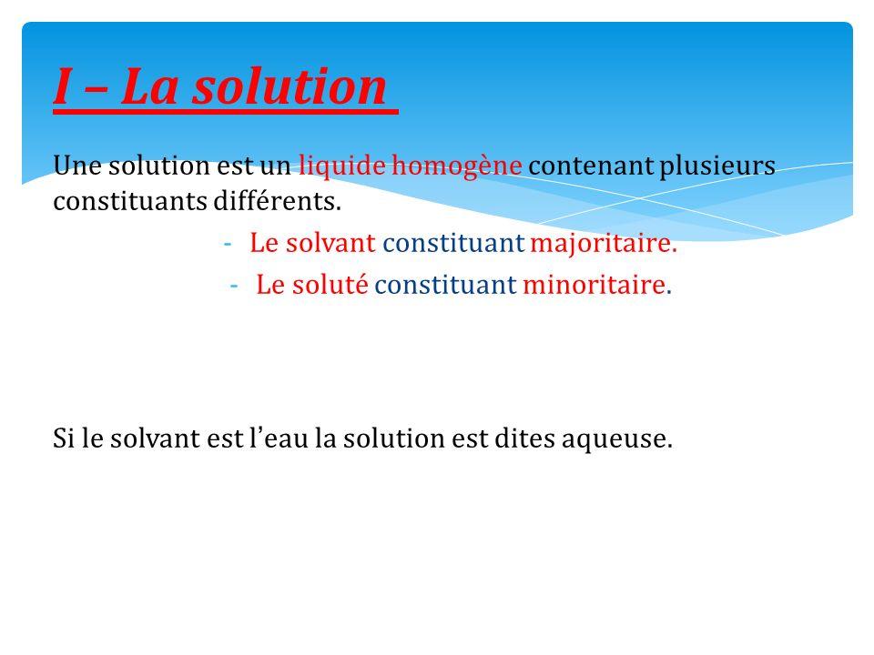 I – La solution Une solution est un liquide homogène contenant plusieurs constituants différents. Le solvant constituant majoritaire.
