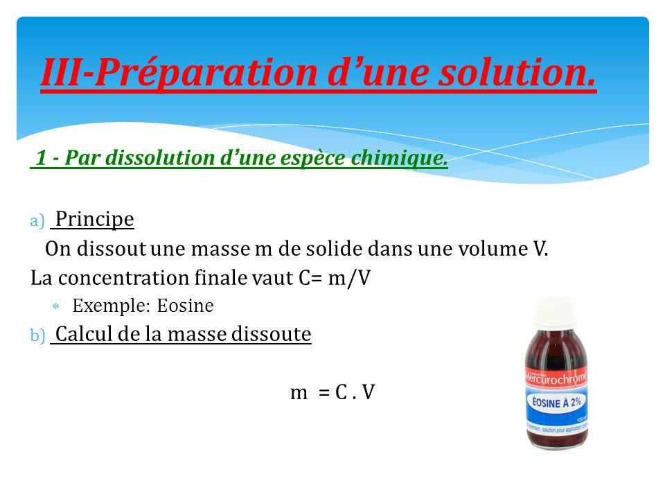III-Préparation d'une solution.