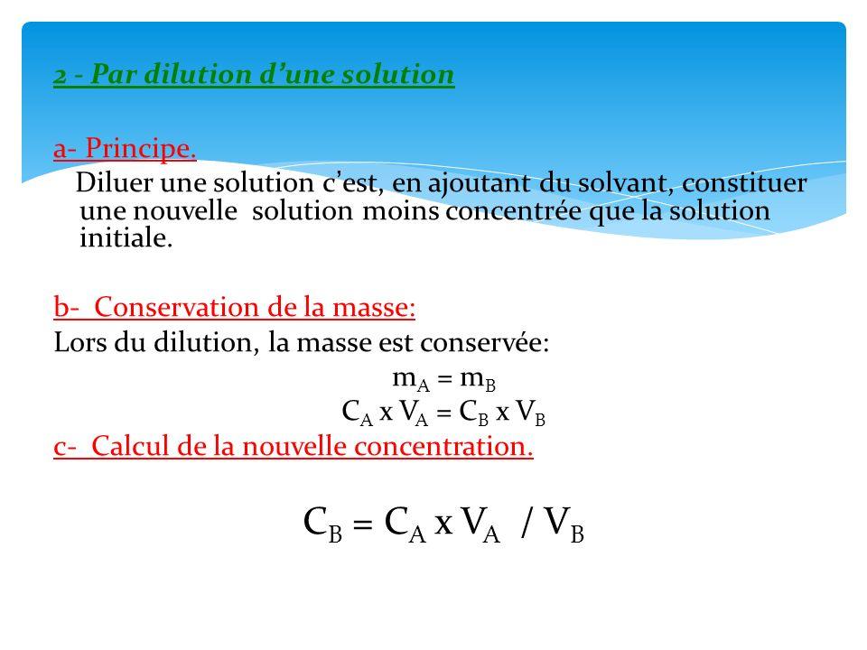 CB = CA x VA / VB 2 - Par dilution d'une solution a- Principe.