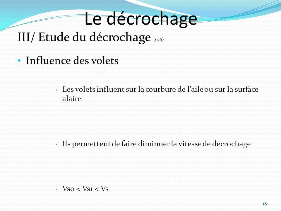 Le décrochage III/ Etude du décrochage (6/6) Influence des volets