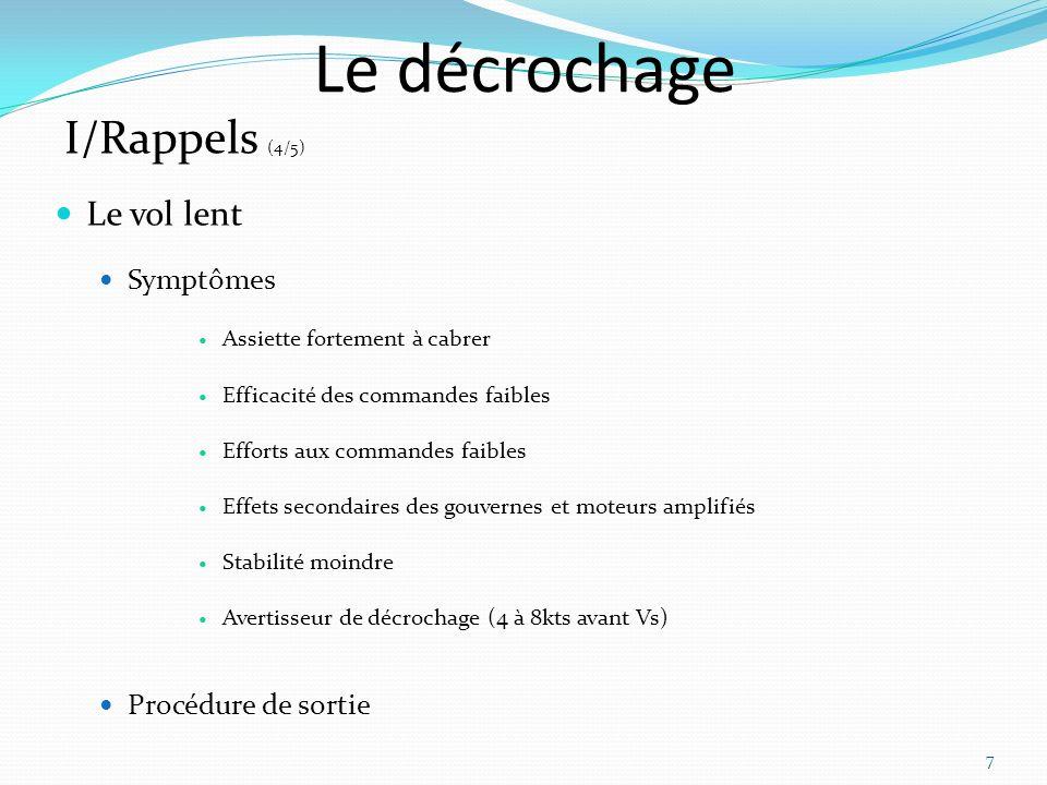 Le décrochage I/Rappels (4/5) Le vol lent Symptômes