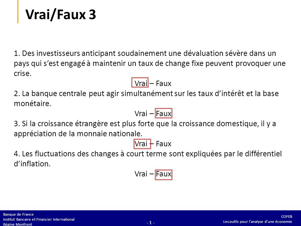 Vrai/Faux 3 1. Le principal objectif de la politique monétaire est M2.