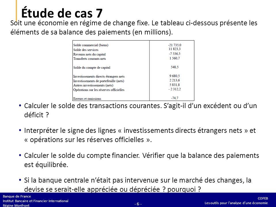Étude de cas 7 Calculer le solde des transactions courantes. S'agit-il d'un excédent ou d'un déficit