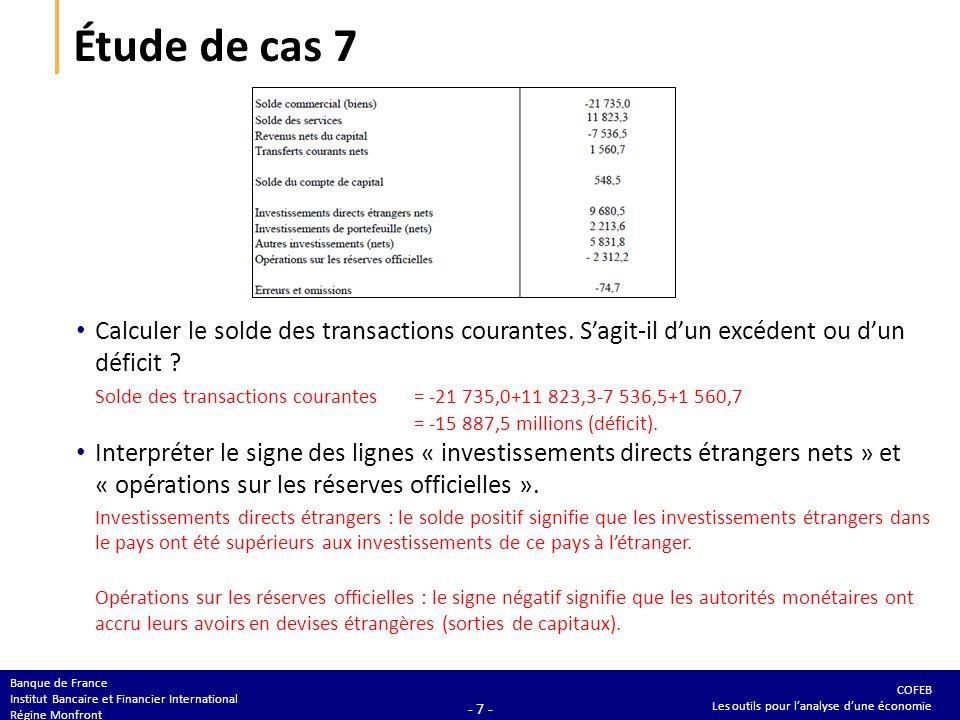 Étude de cas 7 Calculer le solde du compte financier. Vérifier que la balance des paiements est équilibrée.