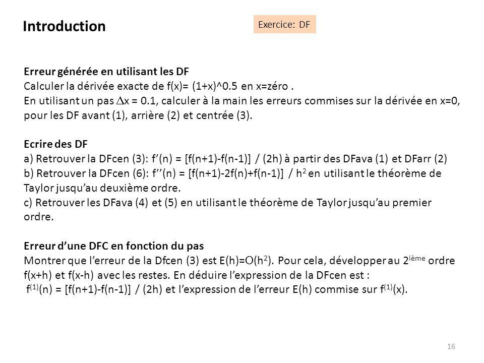 Introduction Erreur générée en utilisant les DF