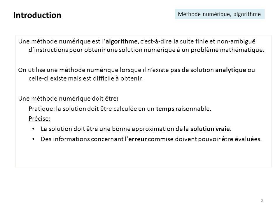 Introduction Méthode numérique, algorithme.