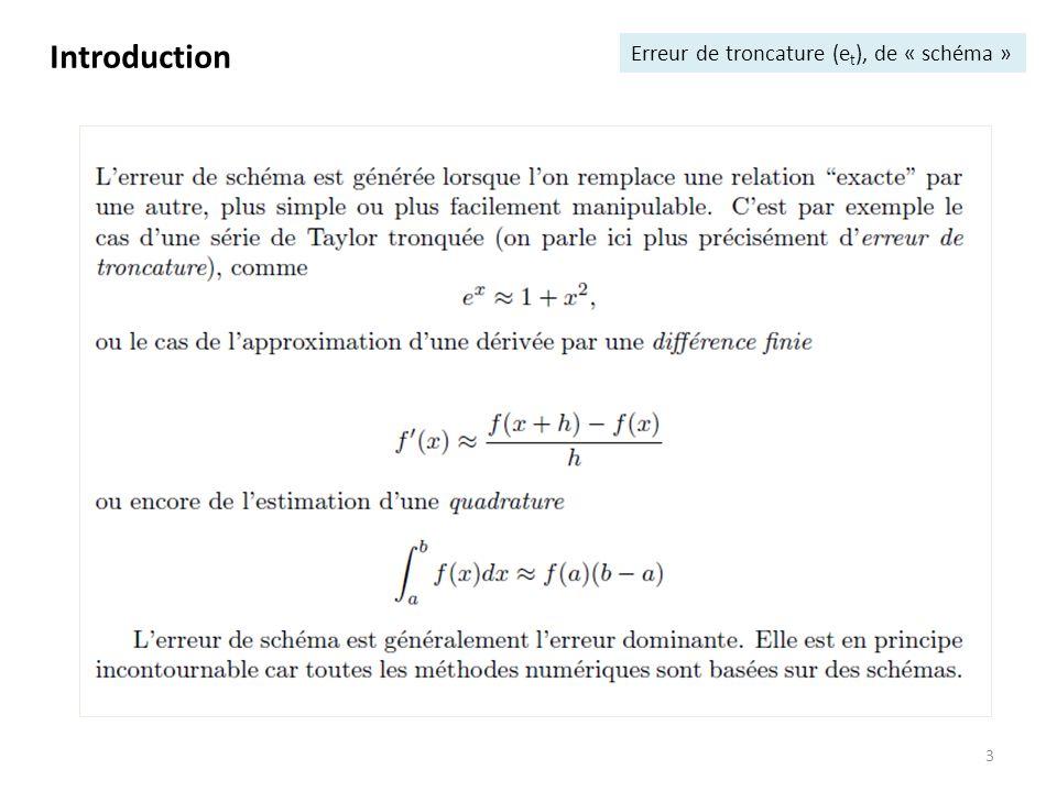 Introduction Erreur de troncature (et), de « schéma »