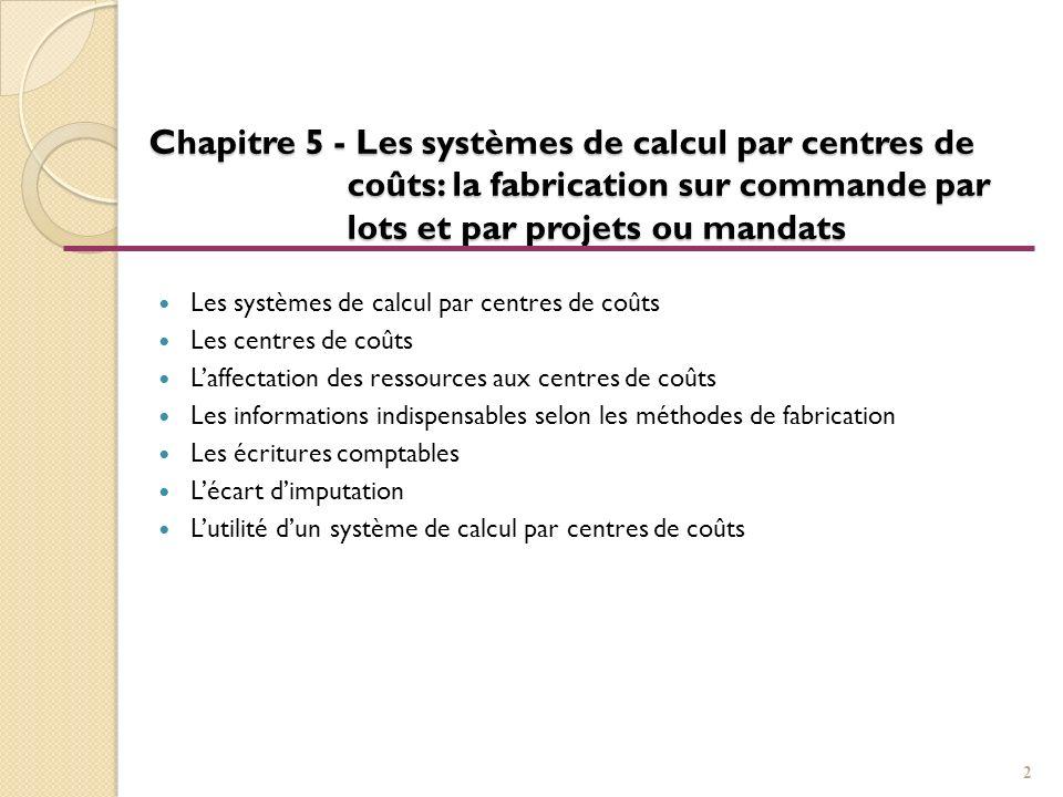 Chapitre 5 - Les systèmes de calcul par centres de coûts: la fabrication sur commande par lots et par projets ou mandats