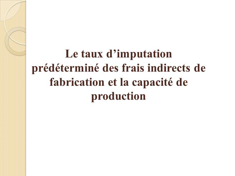 3-69 Le taux d'imputation prédéterminé des frais indirects de fabrication et la capacité de production.