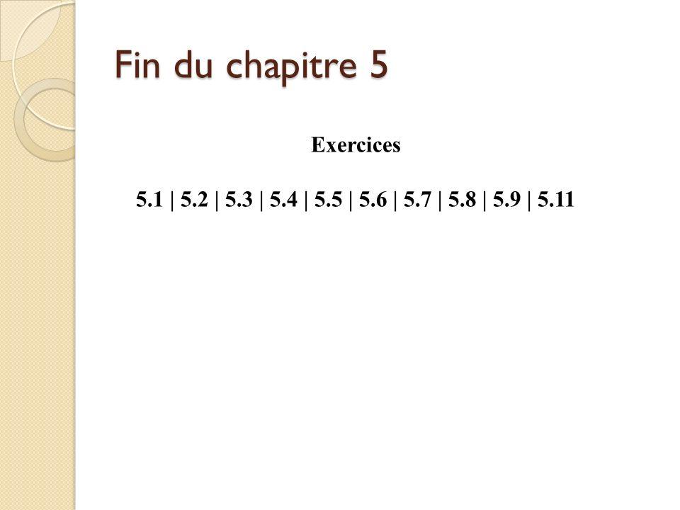 Fin du chapitre 5 Exercices