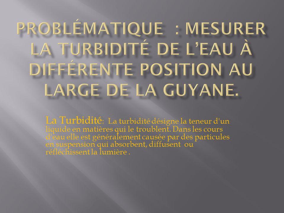 Problématique : Mesurer la turbidité de l'eau à différente position au large de la Guyane.