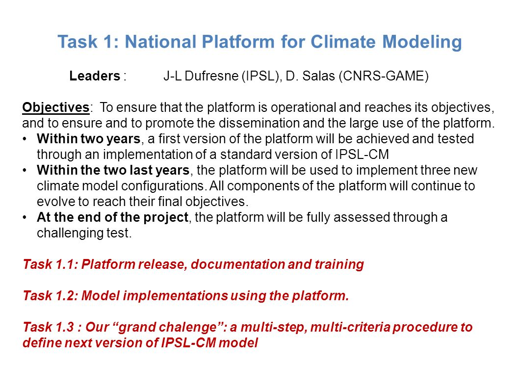 Task 1: National Platform for Climate Modeling