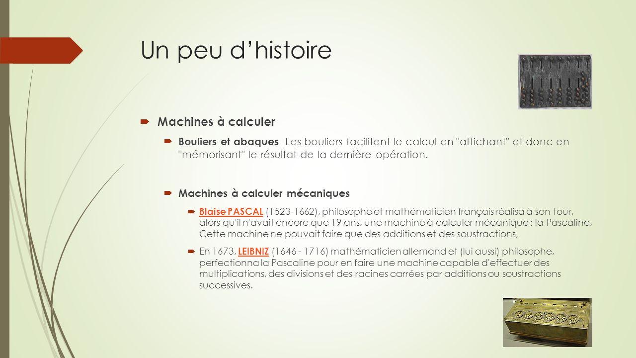 Un peu d'histoire Machines à calculer
