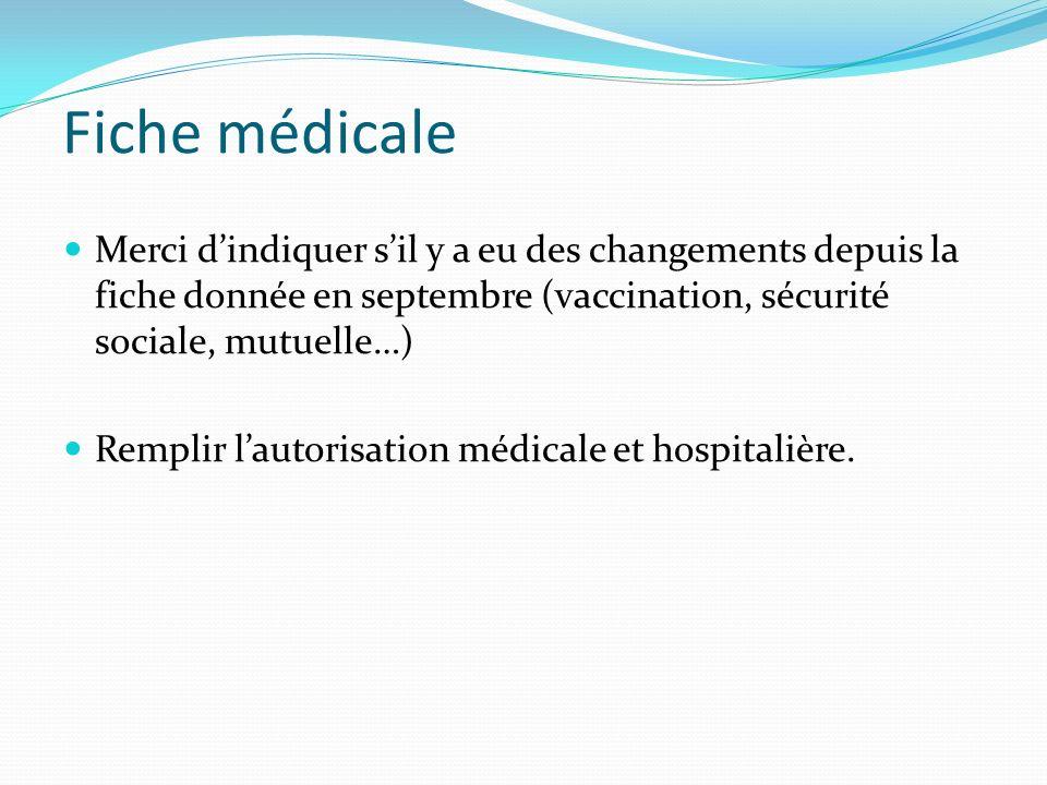 Fiche médicale Merci d'indiquer s'il y a eu des changements depuis la fiche donnée en septembre (vaccination, sécurité sociale, mutuelle…)