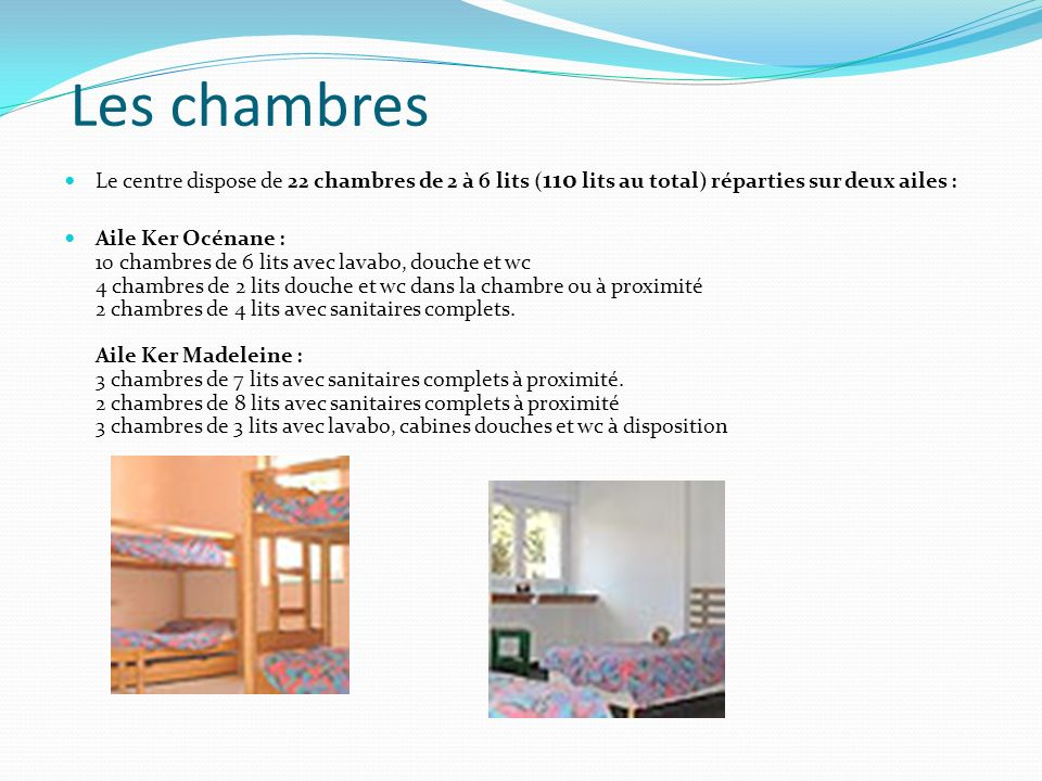 Les chambres Le centre dispose de 22 chambres de 2 à 6 lits (110 lits au total) réparties sur deux ailes :