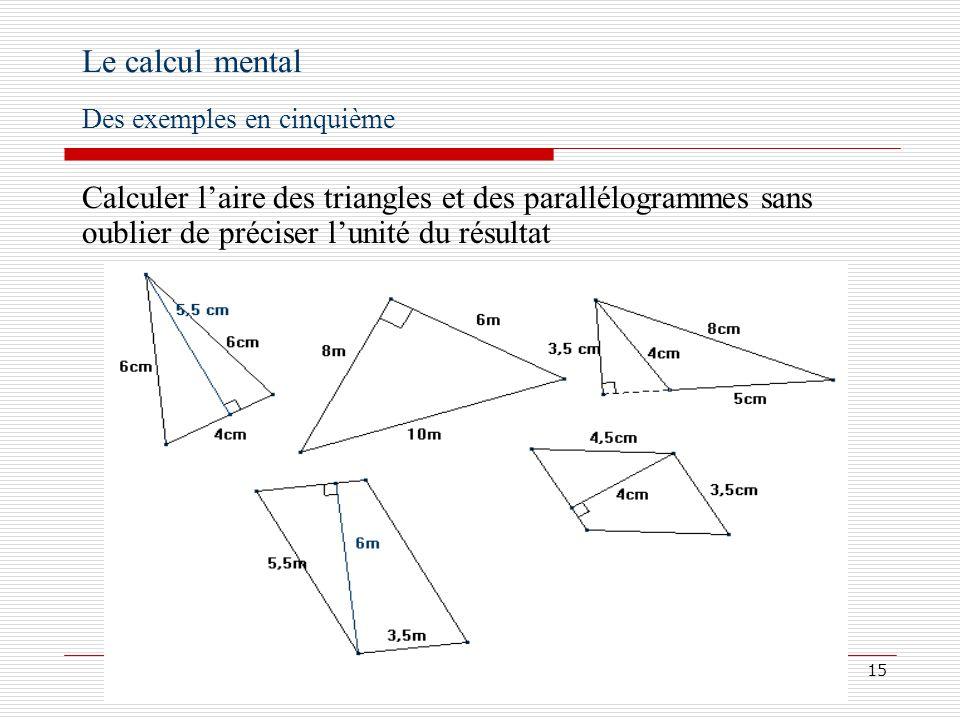 Le calcul mental Des exemples en cinquième.
