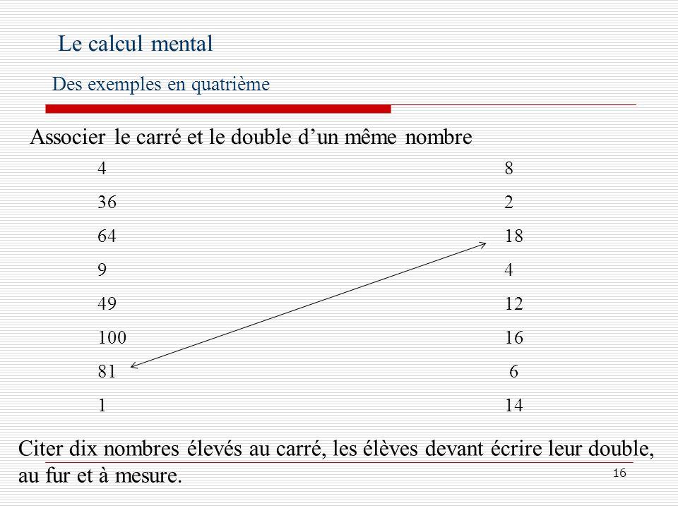 Le calcul mental Associer le carré et le double d'un même nombre