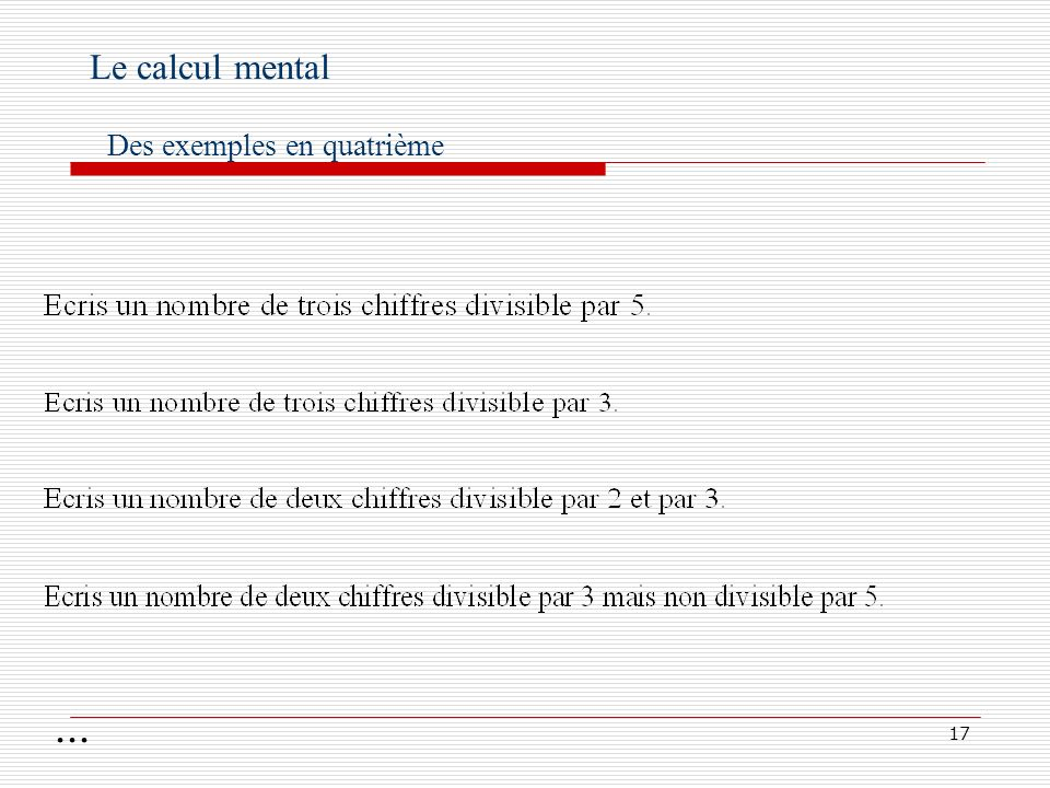 Le calcul mental Des exemples en quatrième ...