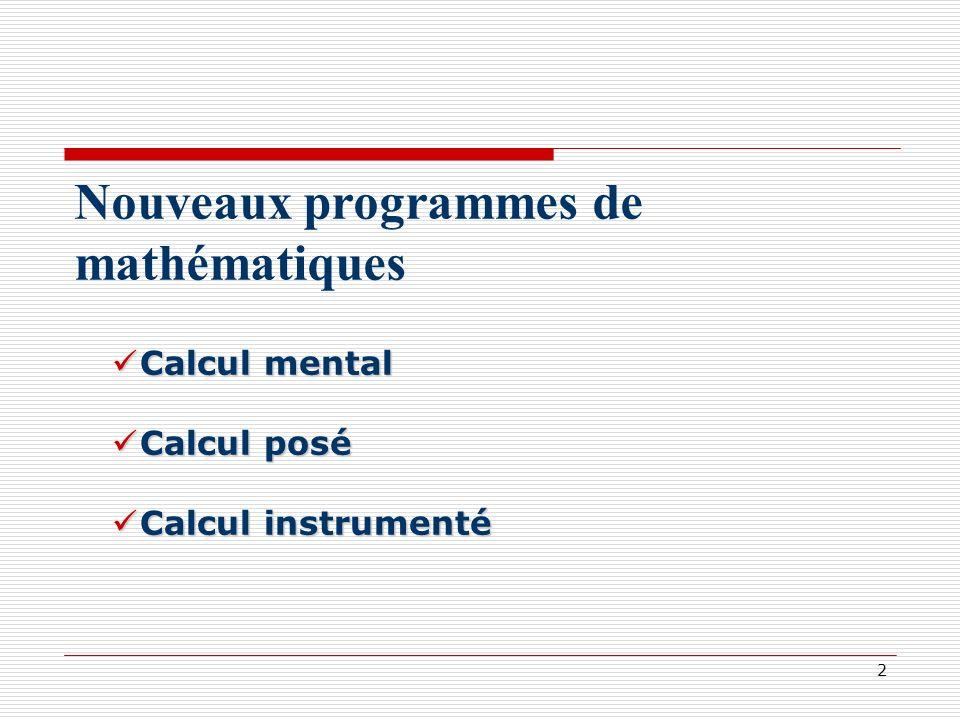 Nouveaux programmes de mathématiques