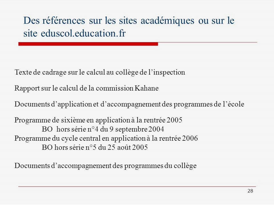 Des références sur les sites académiques ou sur le site eduscol