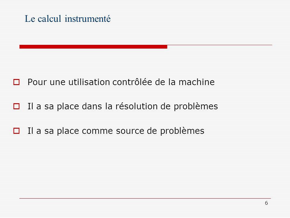 Le calcul instrumenté Pour une utilisation contrôlée de la machine