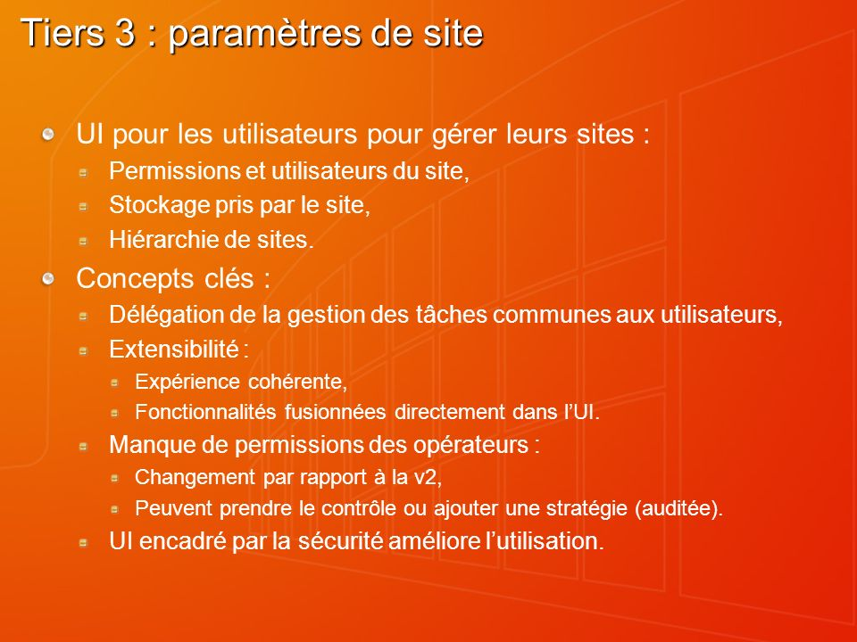 Tiers 3 : paramètres de site