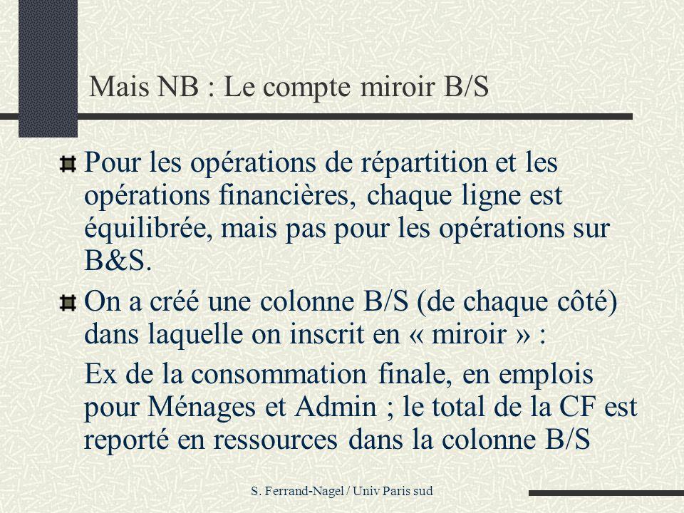 Mais NB : Le compte miroir B/S