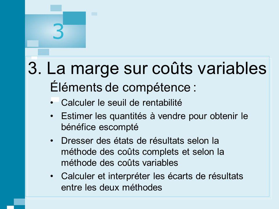 3. La marge sur coûts variables