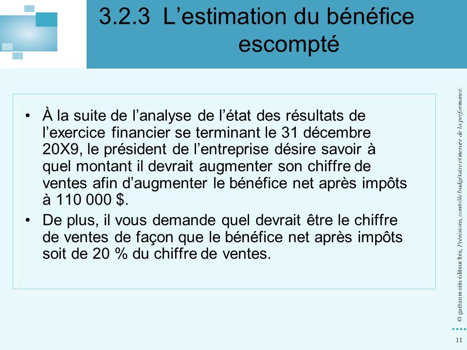 3.2.3 L'estimation du bénéfice escompté