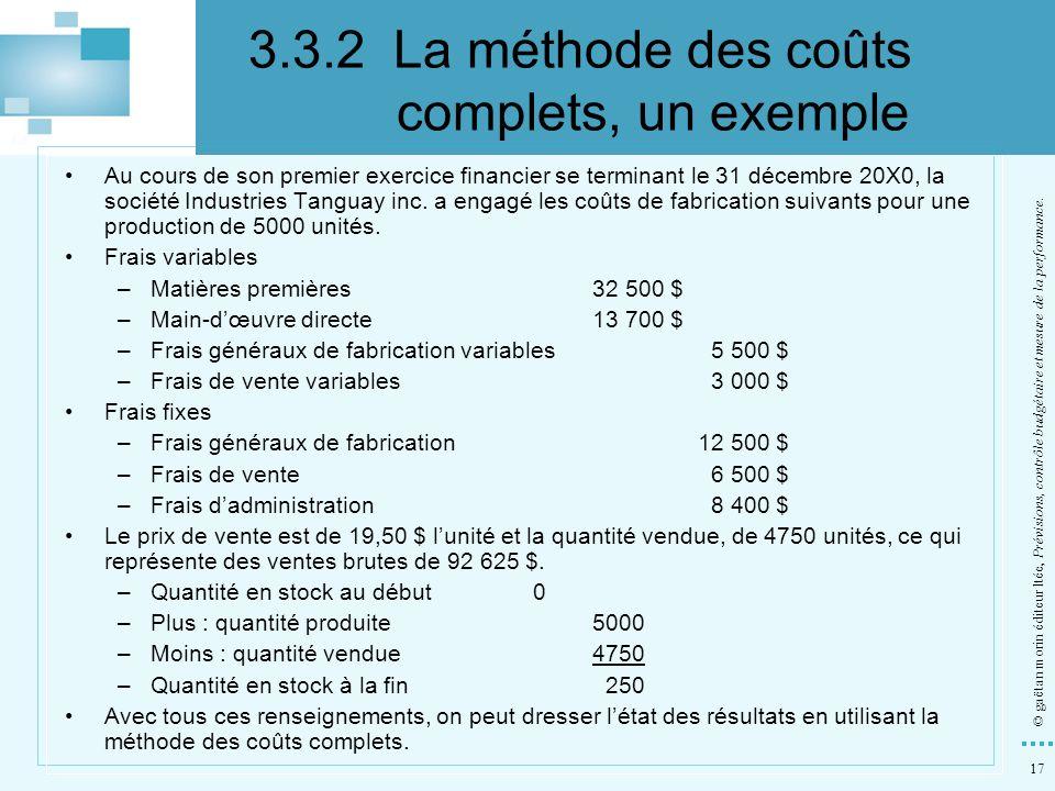 3.3.2 La méthode des coûts complets, un exemple