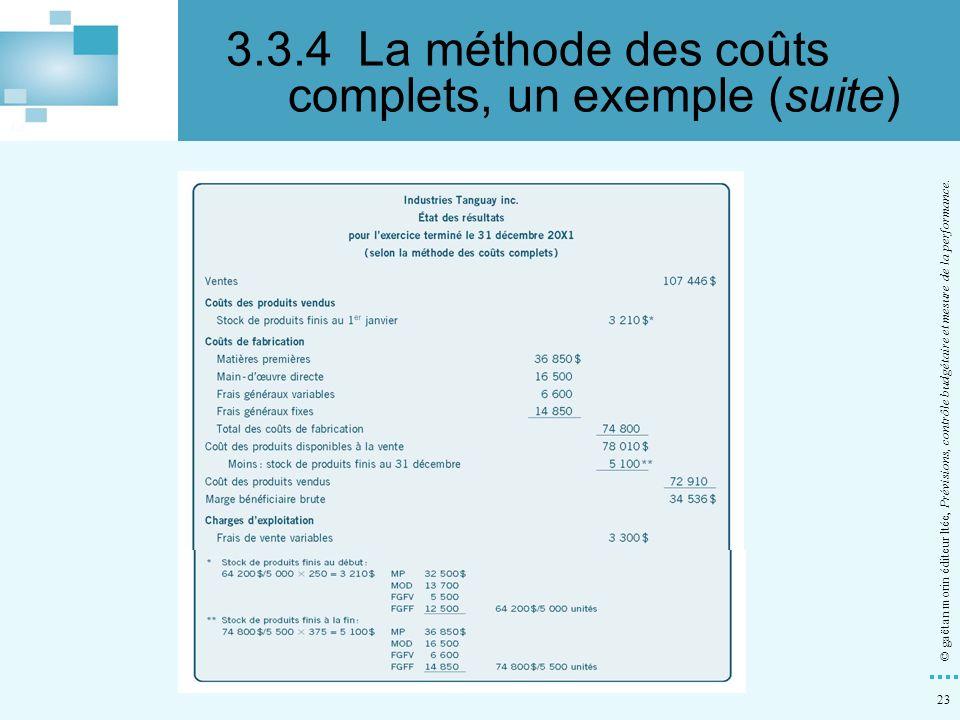 3.3.4 La méthode des coûts complets, un exemple (suite)