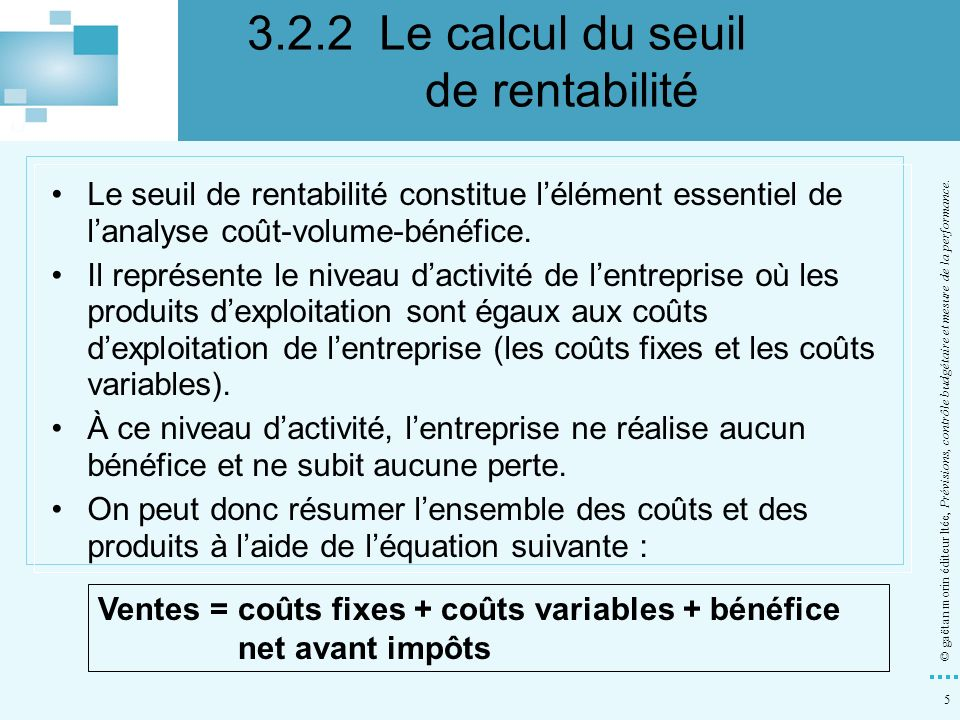 3.2.2 Le calcul du seuil de rentabilité