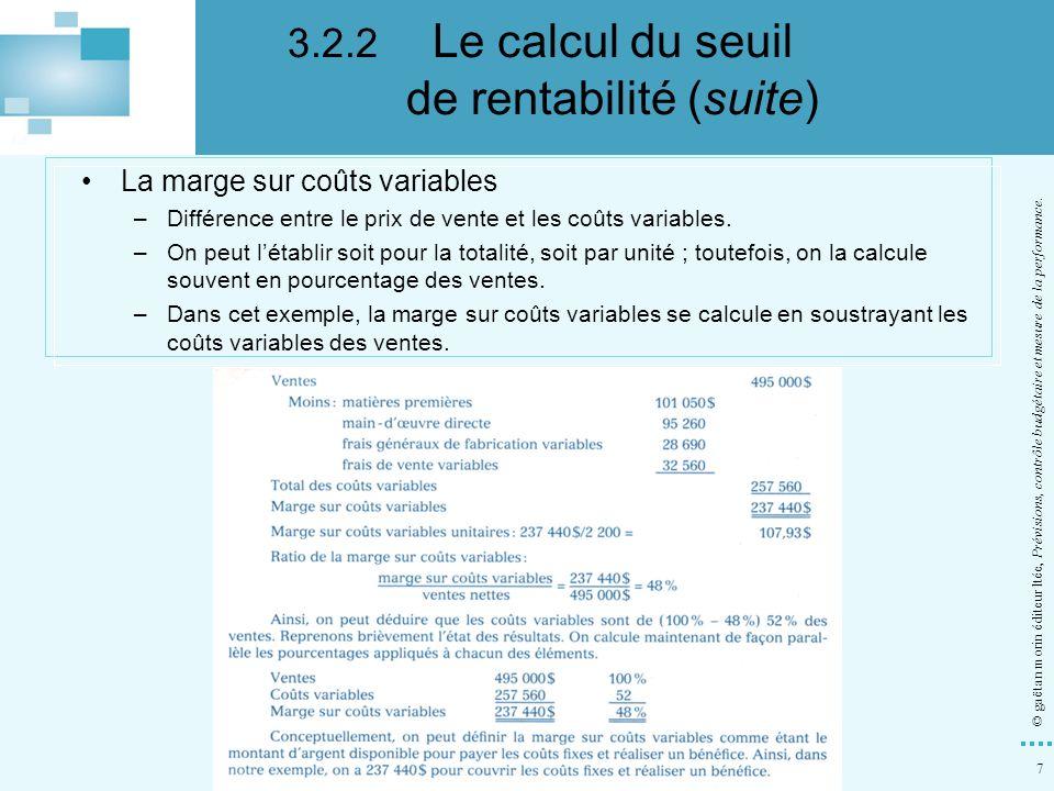 3.2.2 Le calcul du seuil de rentabilité (suite)