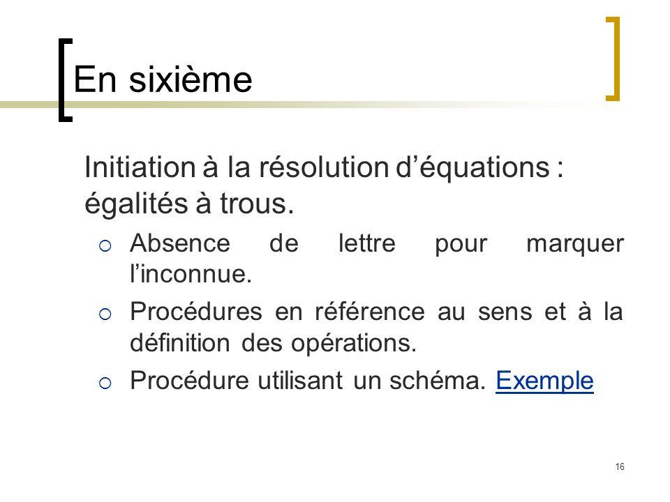 En sixième Initiation à la résolution d'équations : égalités à trous.