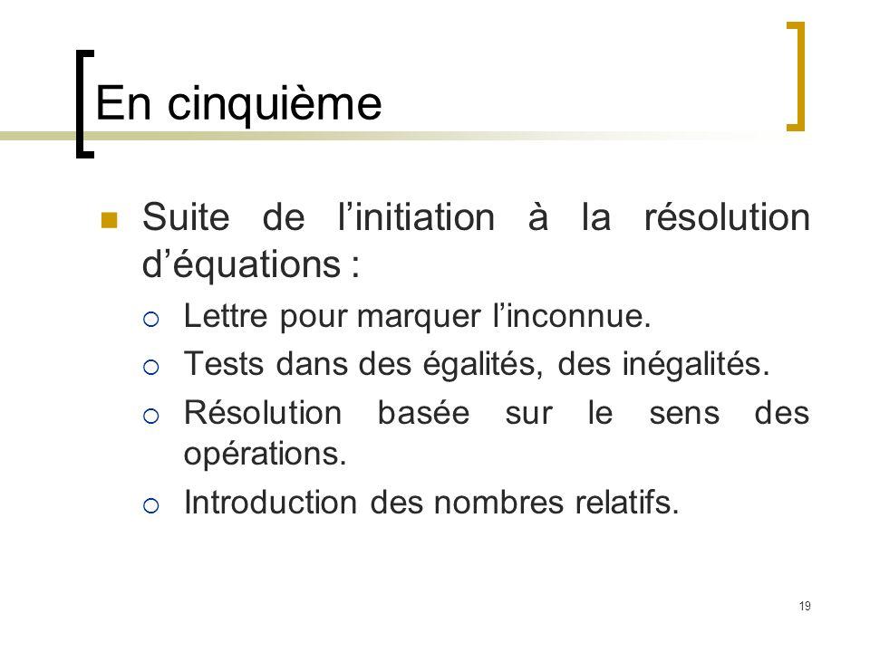 En cinquième Suite de l'initiation à la résolution d'équations :