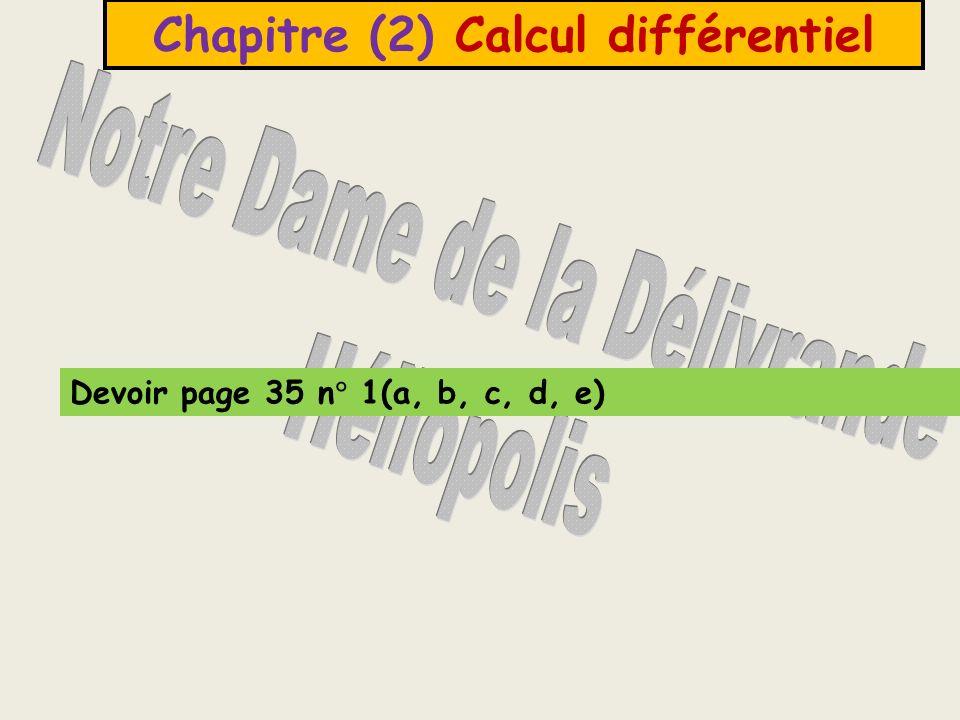 Chapitre (2) Calcul différentiel