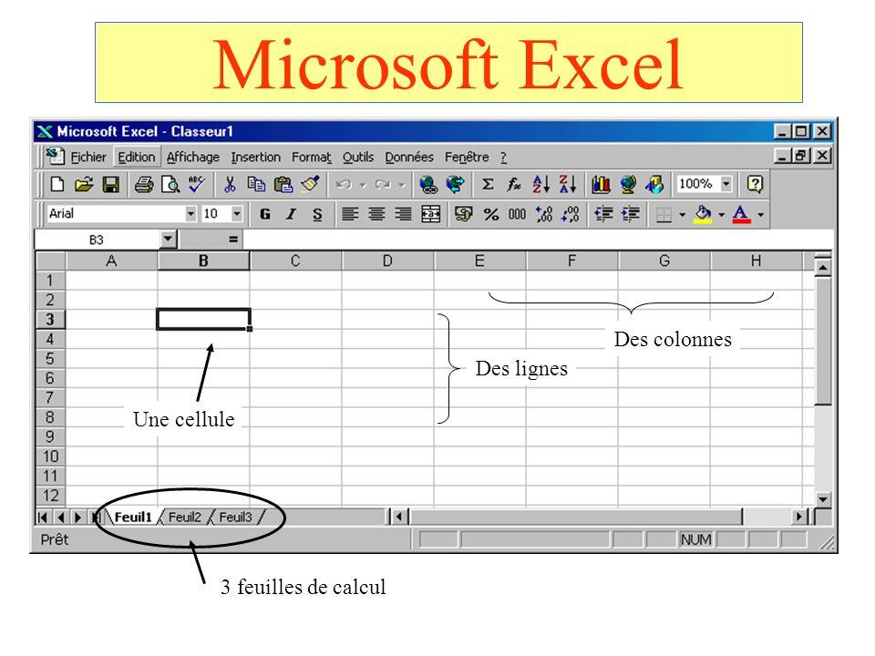 Microsoft Excel Des colonnes Des lignes Une cellule
