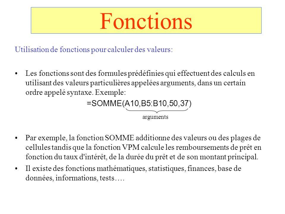 Fonctions Utilisation de fonctions pour calculer des valeurs: