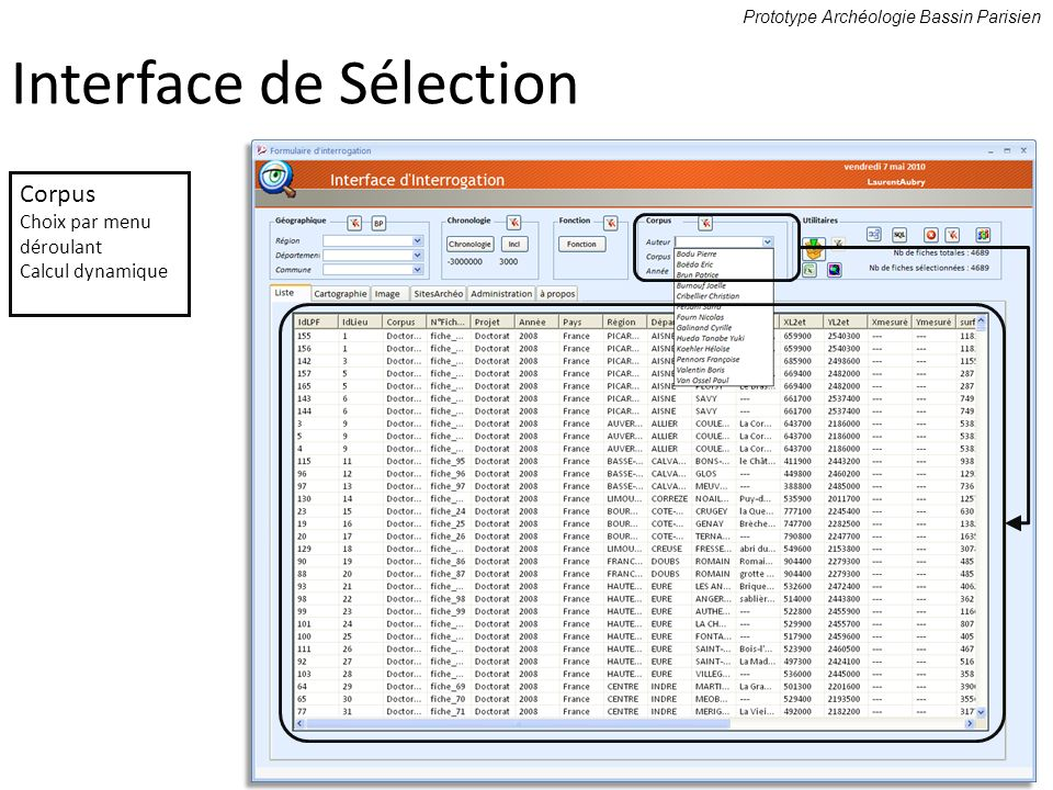 Interface de Sélection